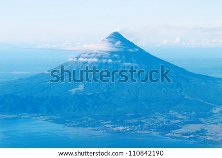A perfect cone Mayon Volcano in the Philippines.