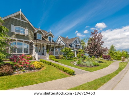 A perfect neighborhood Houses in suburb at Spring in the north America