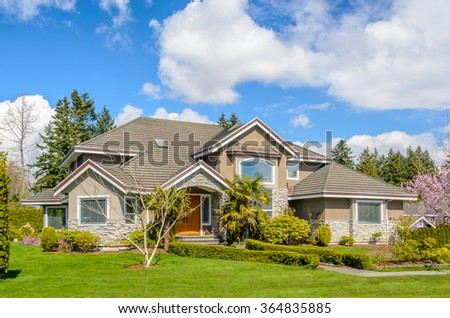 A perfect neighborhood. Houses in suburb at Spring in the north America #364835885