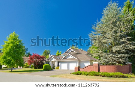 A perfect neighborhood. Houses in suburb at Summer in the north America