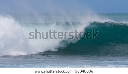 A perfect wave for surfing on beautiful Hawaii Oahu's North Shore