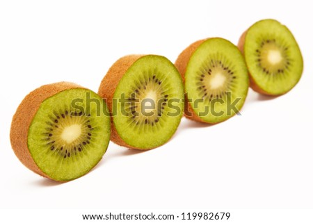A perfectly fresh kiwifruit isolated on white.