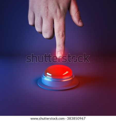 A person about to press a big red button. 3D Illustration