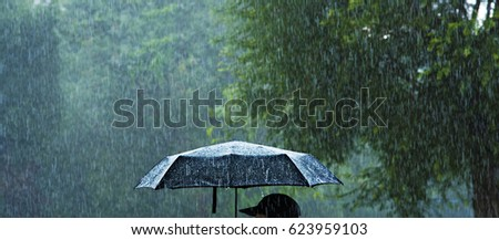 A person holding an umbrella in the rain. #623959103