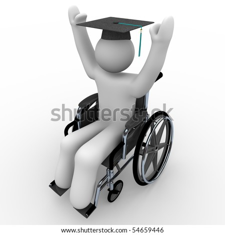 A person in a wheelchair celebrates graduation, wearing a cap with tassel