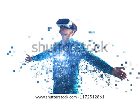 A person in virtual reality glasses flies to pixels. The concept of new technologies and technologies of the future.VR glasses. #1172512861