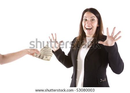 A person is handing a woman some money and she is showing her excitement.
