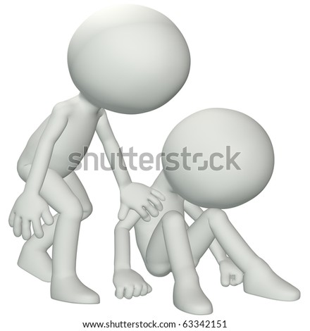 A person leans down to console give sympathy to a friend in need of help.
