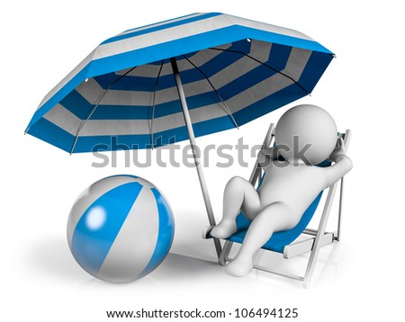 A person lying on a lounge chair enjoying his holiday under an umbrella at the beach