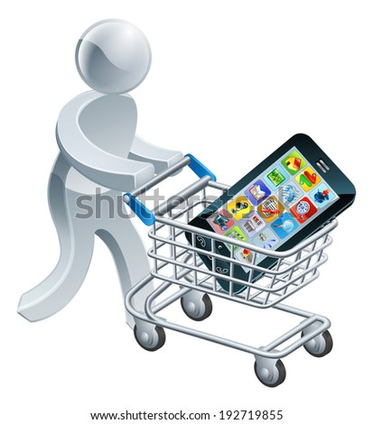 A person pushing a shopping cart or trolley with a large mobile cell phone in it
