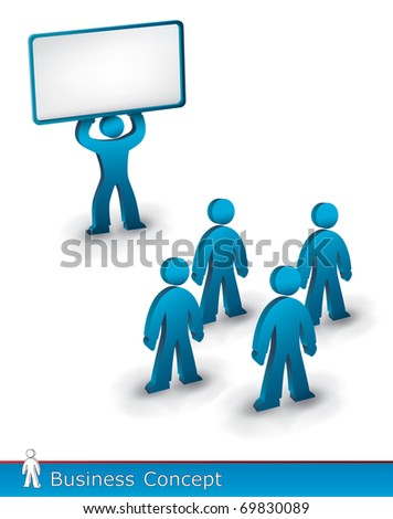 a person showing a big blank sign to others