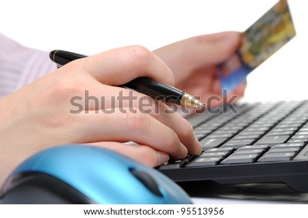 A person using computer for internet shopping