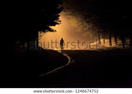 A person walk into the misty foggy road in a dramatic mystic scene with warm colors. Mysterious man walking in the mist #1248674752