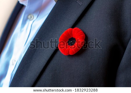 A Person with a remembrance day poppy flower on a black suit.