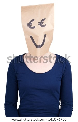 a person with a smiling euro paper bag head, isolated