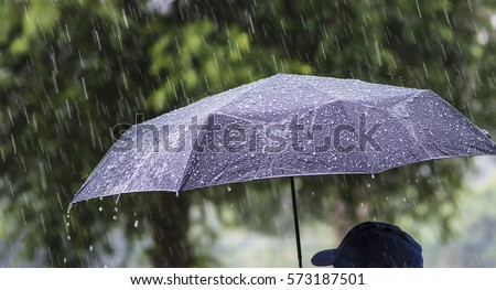 A person with an umbrella in the rain. #573187501