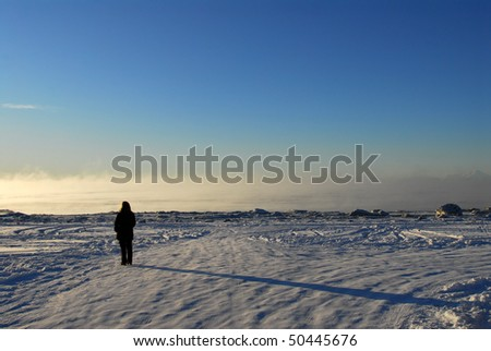 A person with shadow on frozen Alaskan landscape on Cook Inlet, Kenai Alaska with mountains, ice fog and Redoubt volcano in background