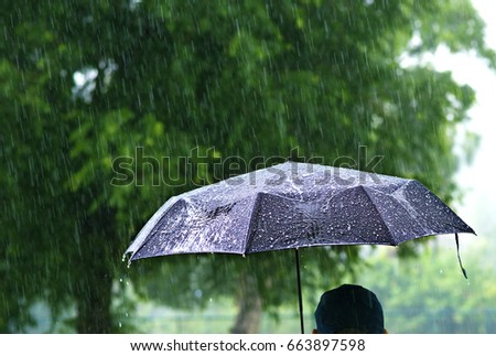 A person with umbrella in raining. #663897598