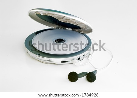 a personal cd player playing a music cd, on white background