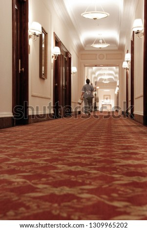 A perspective shot of hotel hallways shortly after the cleaning lady passed by.  #1309965202