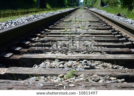 A perspective, vanishing point view of railroad tracks in the summer.