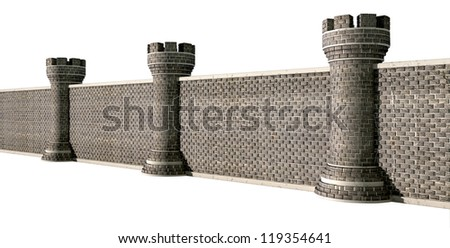 A perspective view of a gothic brick wall separated by evenly spaced turrets on an isolated background
