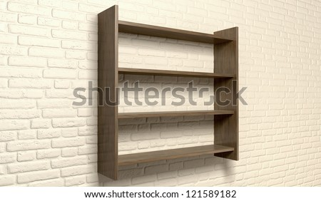 A perspective view of a regular cleared wooden shelving unit on an cream brick wall with copy space