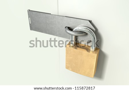 A perspective view of a regular metal hasp closed and secured by a brass padlock on an isolated background