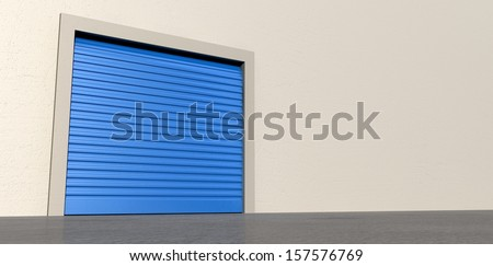A perspective view of a storage room with a closed blue roller door on an isolated white wall background