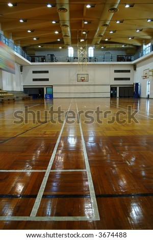 A perspective view of basketball court
