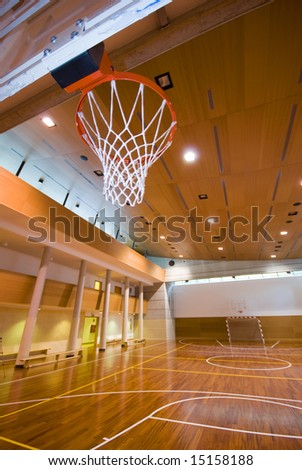 A perspective view of basketball indoor sport court