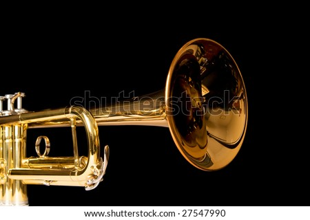 a perspective view of the bell of a trumpet, on black