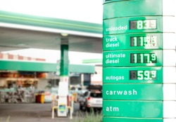 A petrol station with cheap fuel prices due to price of US crude oil drops below zero. Fossil fuels such as unleaded, diesel or gas are cheaper as usual as the screen shows. Coronavirus 2020 context.