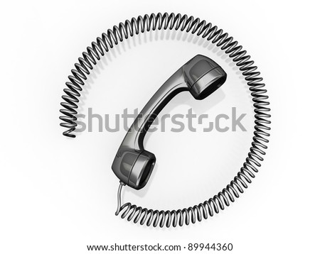 A phone receiver with its cord in a circle around it.