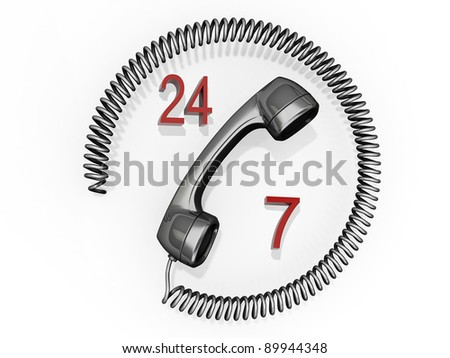 A phone receiver with its cord in a circle around it and the numbers 24 and 7.