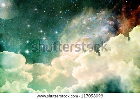 A photo based cloudscape with clouds, stars and moon with distant galaxies.