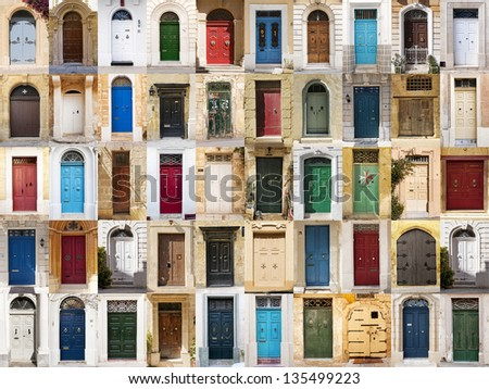 A photo collage of 50 colourful front doors to houses from Malta.