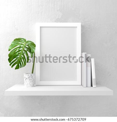 A photo frame mock up on a white shelf. Clean and minimal design. 3D render illustration