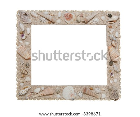 A photo frame with seashells isolated over white