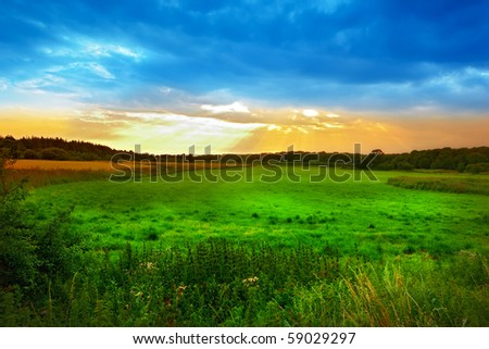 A photo of a beautiful sunset in the countryside