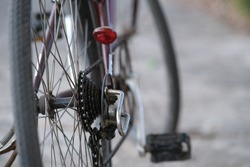 A photo of a bicycle chain parked on a road
