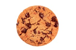 A photo of a chocolate chip cookie, isolated on a white background with a clipping path, shot from the top
