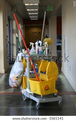 A photo of a janitor's cart