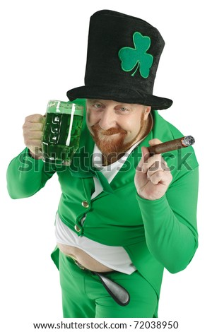 A photo of a Leprechaun drinking green beer on St. Patricks Day.