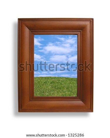 A photo of a picture frame with a nature setting inside