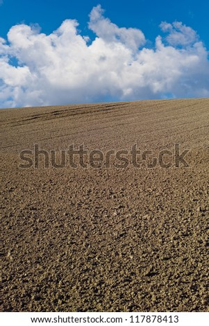 A photo of a plowed field