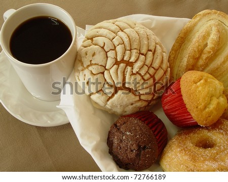 A Photo of a scene with a cup of coffee and bakery