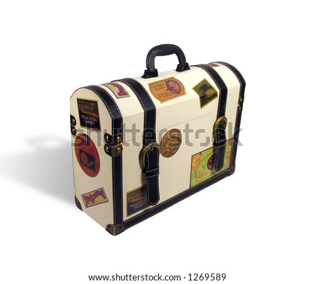 A photo of a themed world traveler suitcase