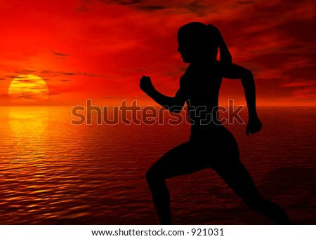 A photo of a woman jogging by the ocean