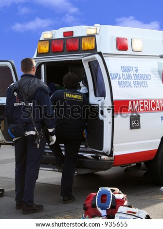 A photo of an ambulance with patient inside
